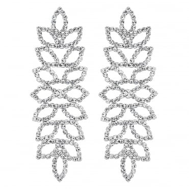 Silver Crystal Leaf Statement Earring