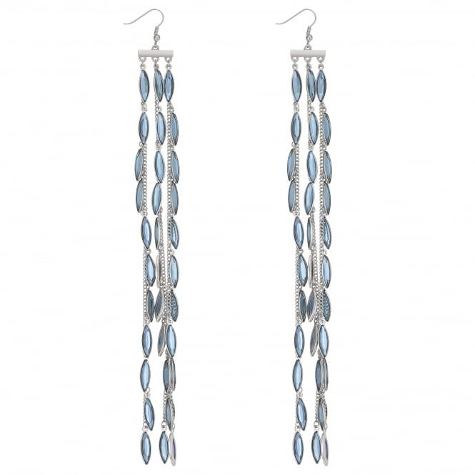 Blue Crystal Leaf Statement Drop Earring