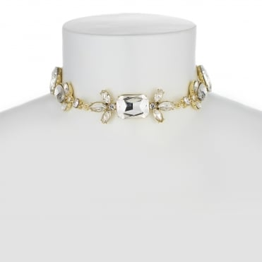 Gold Crystal Mixed Shape Choker Necklace
