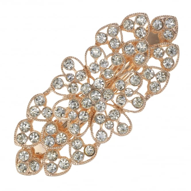 MOOD By Jon Richard Rose Gold Crystal Floral Hair Clip