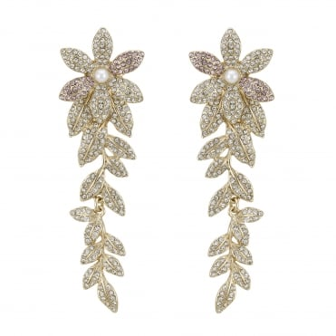 Crystal pave floral drop earring