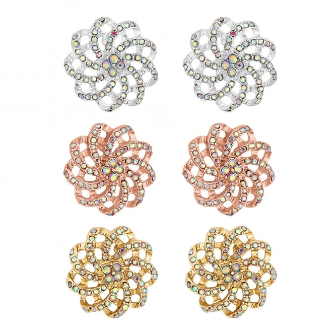 MOOD By Jon Richard Rose gold / Silver Rainbow Crystal Floral Stud Earring Set
