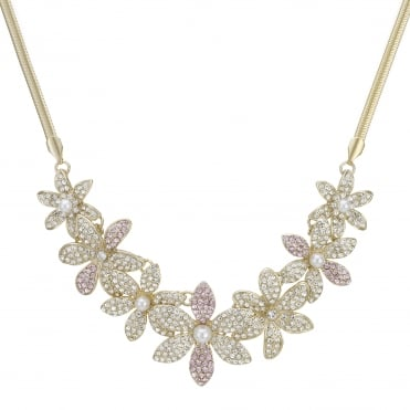 Crystal pave floral necklace