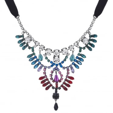 Crystal rainbow statement necklace