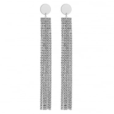 Silver Diamante Crystal Chain Drop Earring