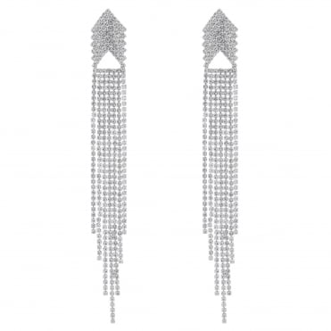 Silver Diamante Chandelier Statement Earring