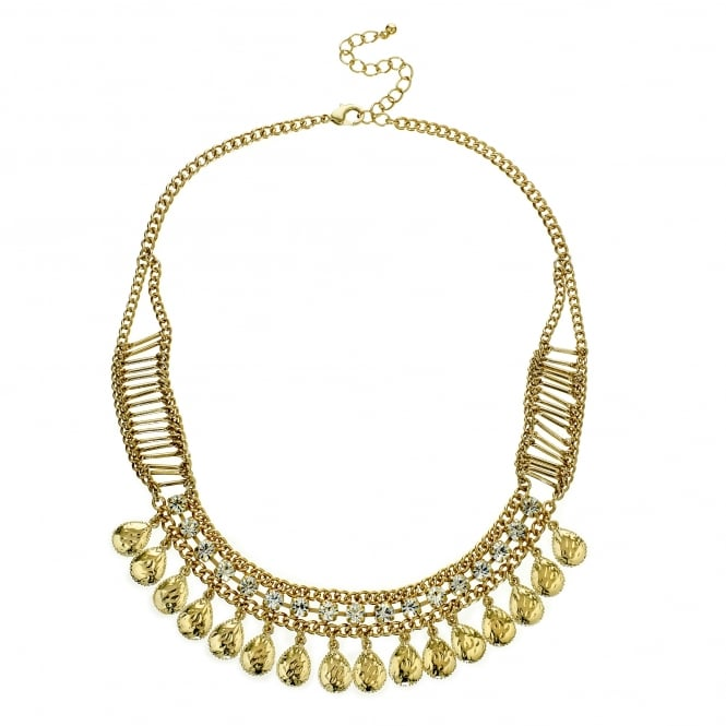 Gold Diamante Crystal Teardrop Statement Necklace