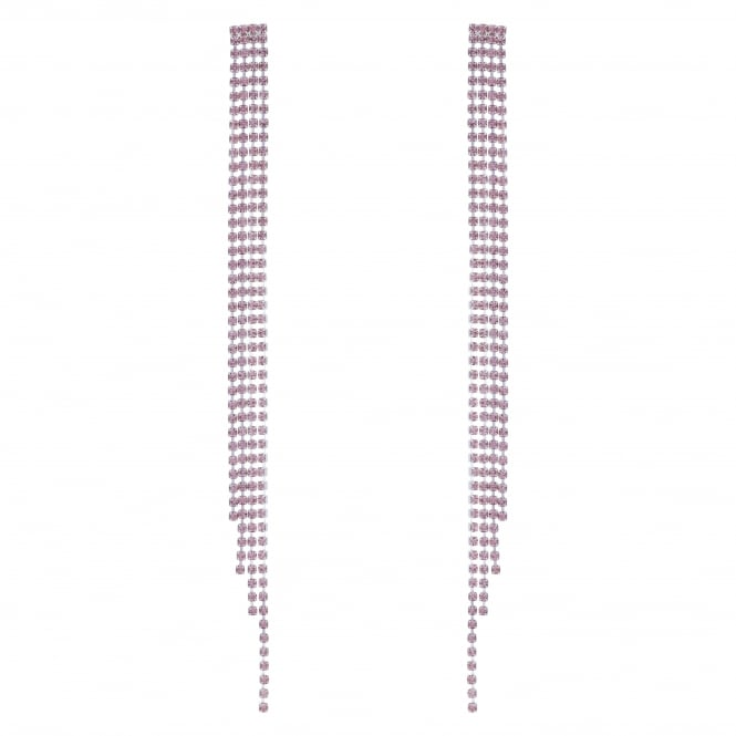 Silver Pink Diamante Crystal Drop Earring