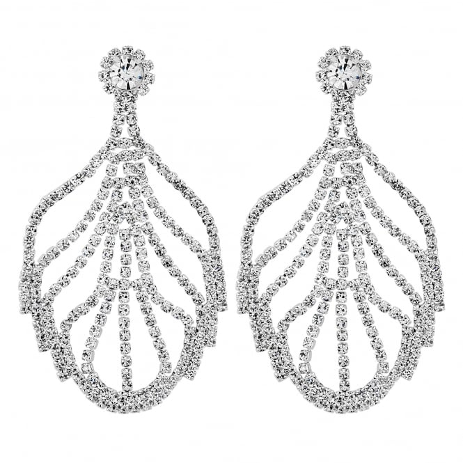 Silver Diamante Leaf Statement Earring