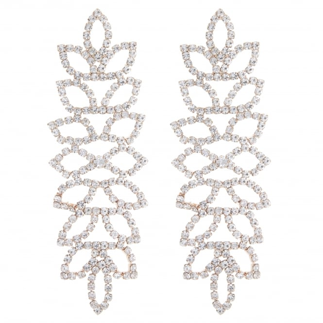 Rose Gold Diamante Leaf Drop Earring