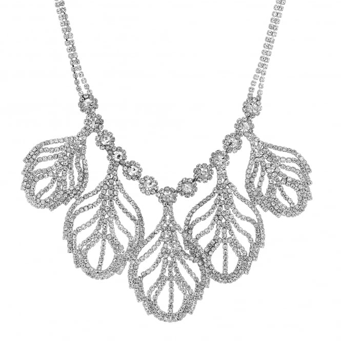 Silver Crystal Leaf Statement Necklace