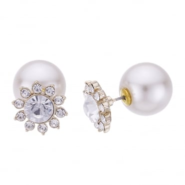 Gold Crystal Flower And Pearl Front And Back Earring