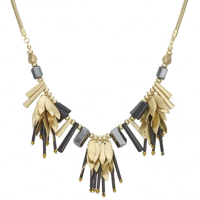 MOOD By Jon Richard Black / Gold Floral Shaker Statement Necklace
