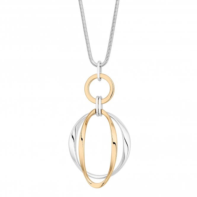 Gold And Silver Circle Long Necklace
