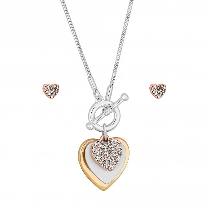 Gold And Silver Heart Charm Jewellery Set