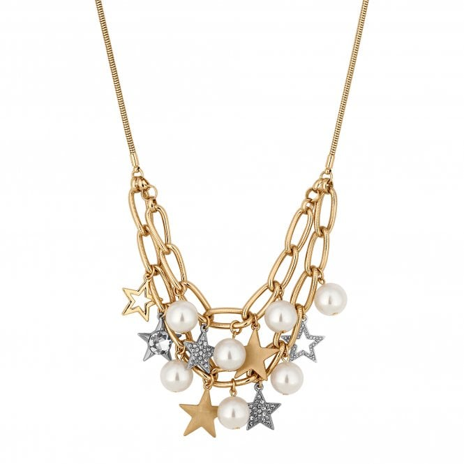 Gold And Silver Star Statement Necklace