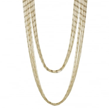 Gold bead chain multi row necklace
