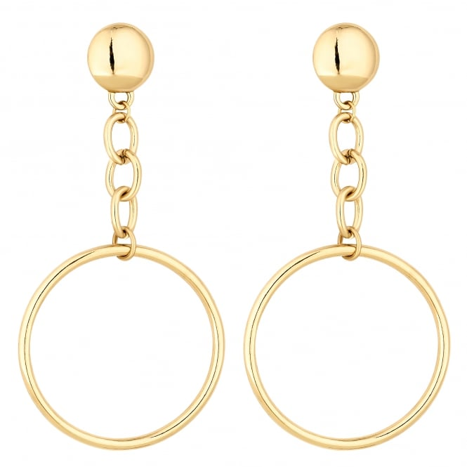 Gold Chain Drop Hoop Earring