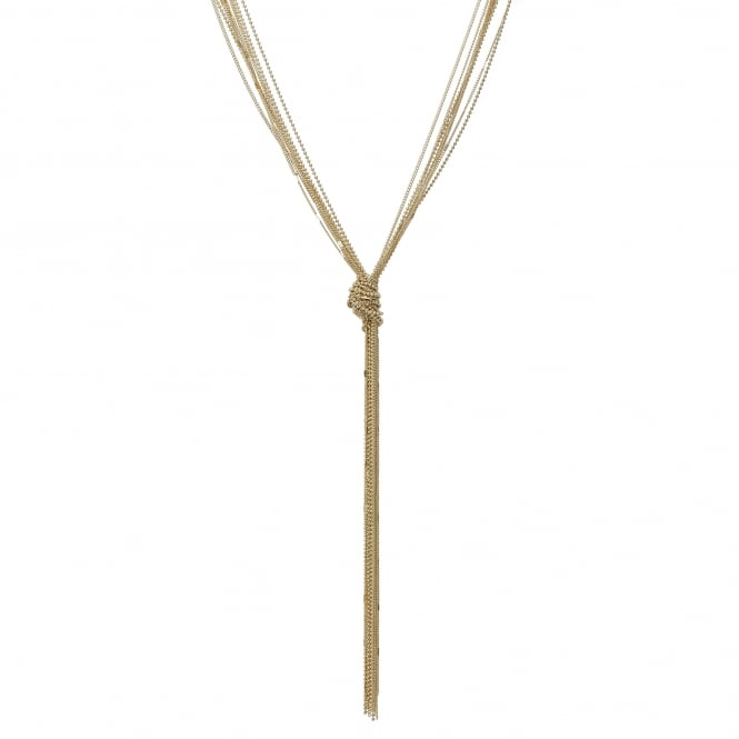 Gold chain knotted lariat necklace