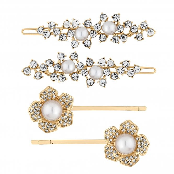 Gold Crystal And Pearl Floral Hair Slide Set