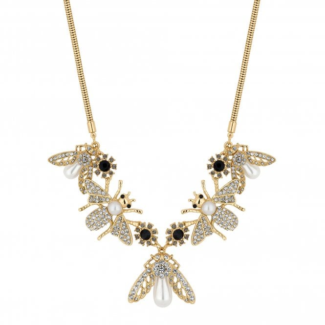 Gold Crystal Bee Charm Necklace