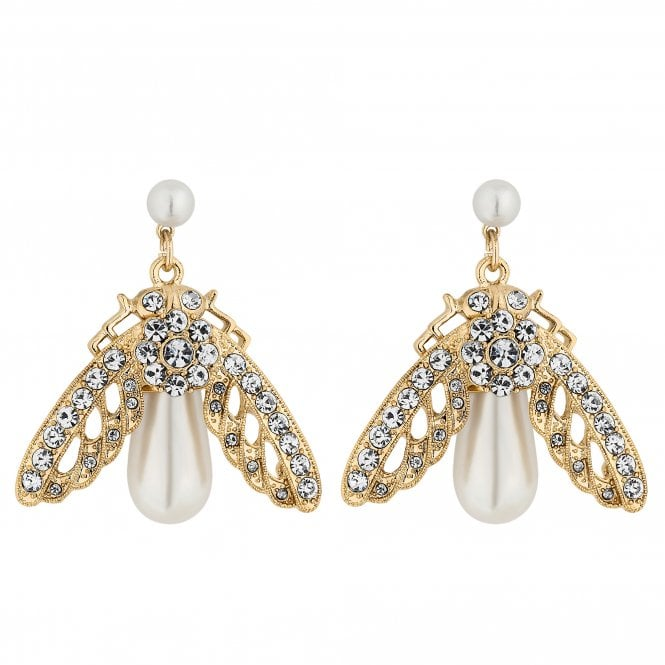 Gold Crystal Bee Drop Earring