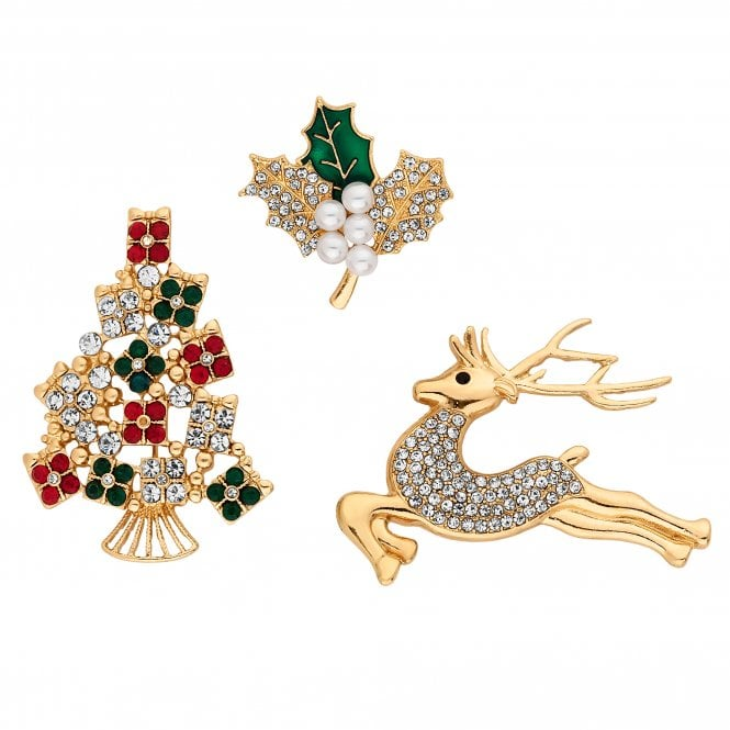 Gold Crystal Christmas Brooch Set