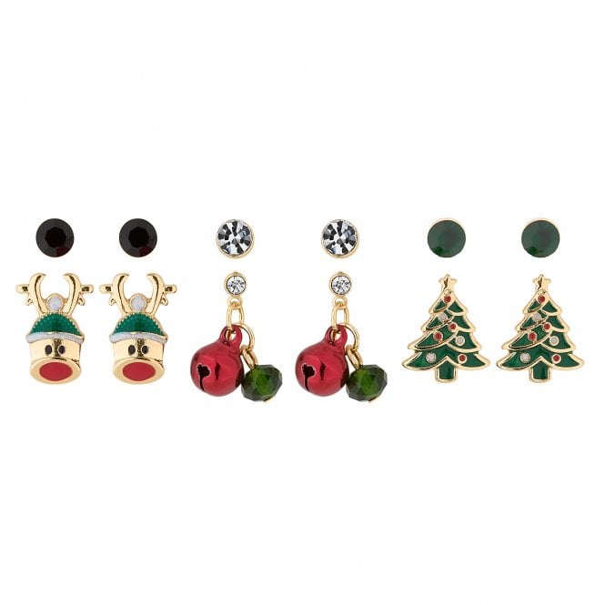 Gold Crystal Christmas Stud Earring Set