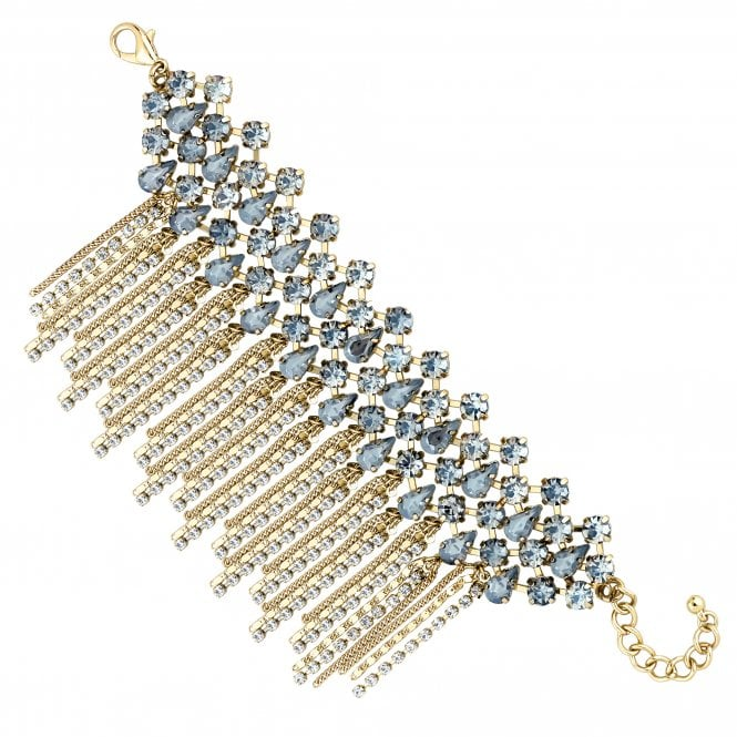 Gold Crystal Cluster Statement Waterfall Bracelet