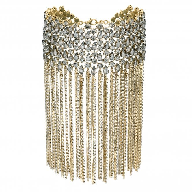 Gold Crystal Cluster Statement Waterfall Choker Necklace