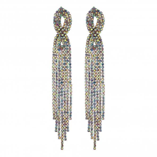 Gold Crystal Diamante Twist Drop Earring