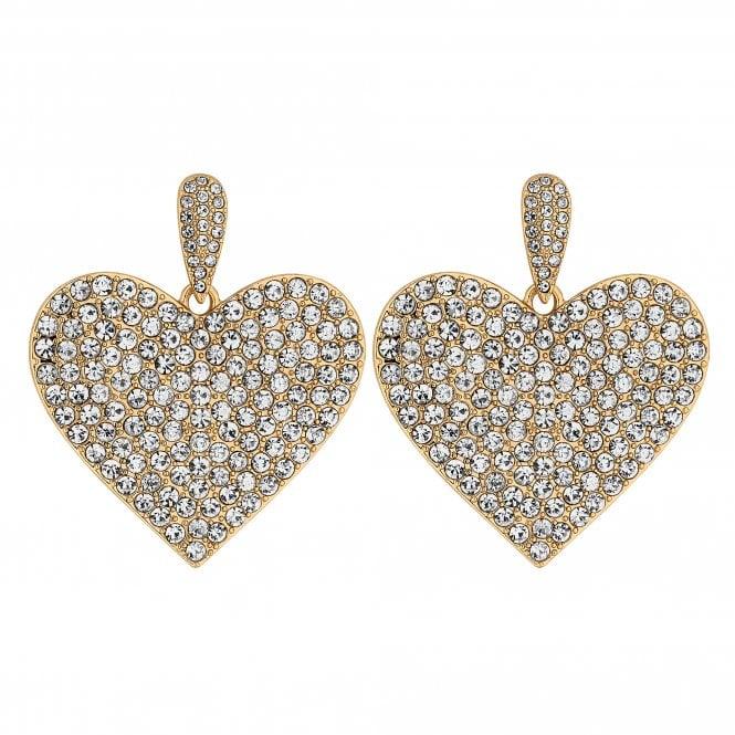 Gold Crystal Embellished Oversized Heart Drop Earring