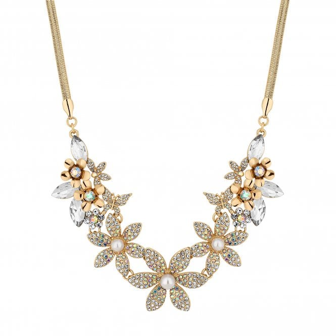 Gold Crystal Floral Statement Necklace