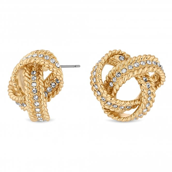 Gold Crystal Knot Stud Earring