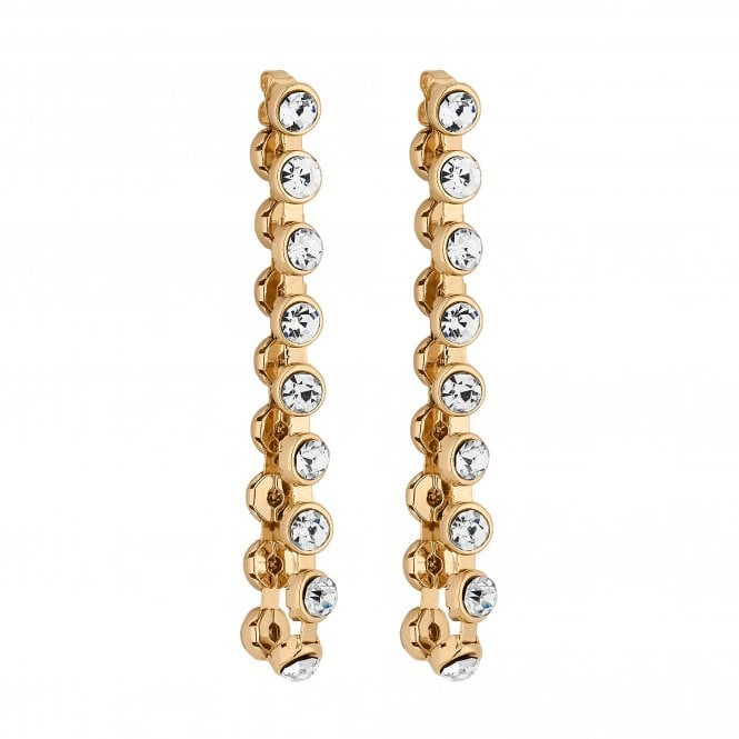 Gold Crystal Looped Statement Earring