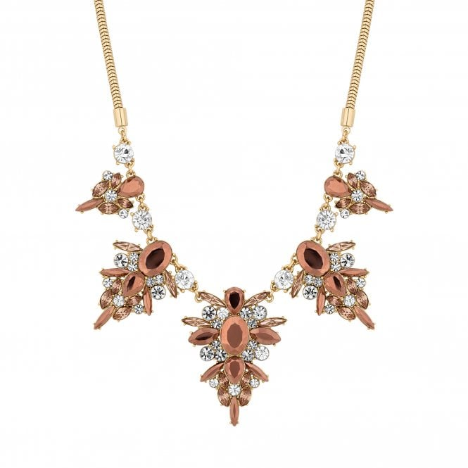 Gold Crystal Metallic Statement Necklace