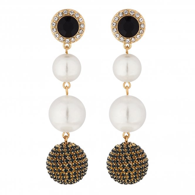Gold Crystal Orb And Pearl Drop Earring
