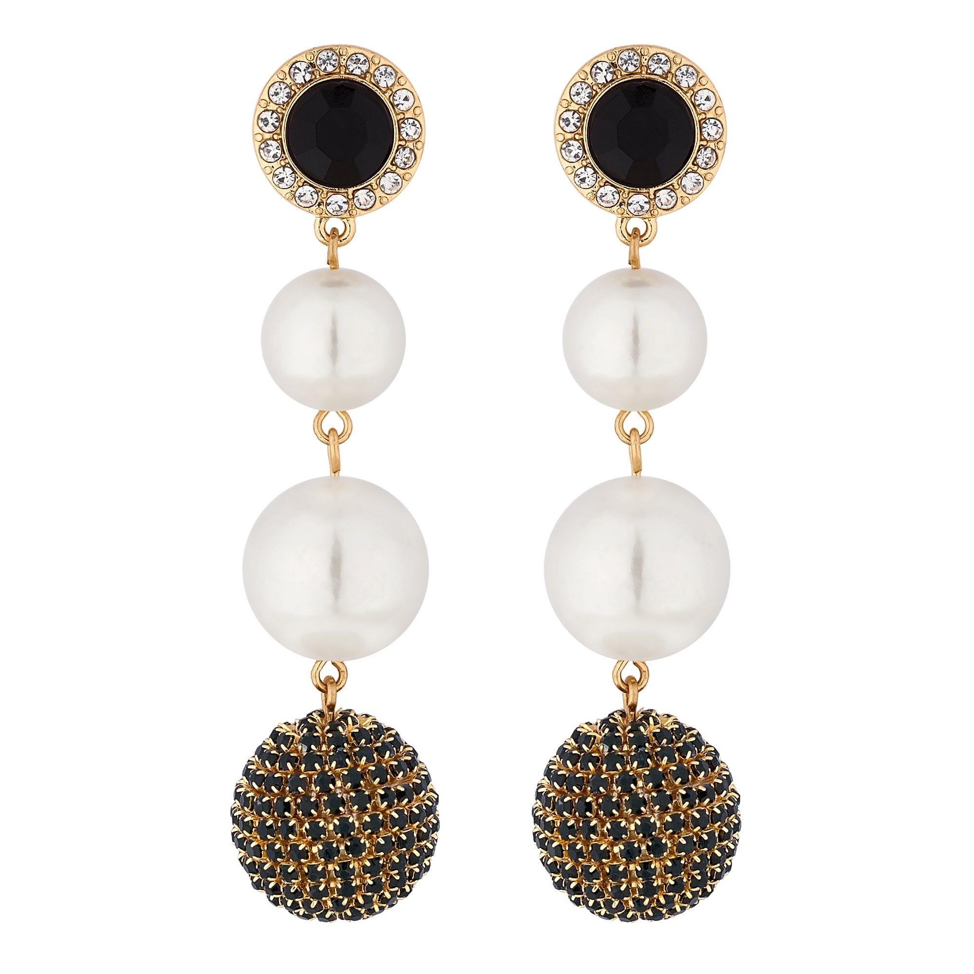 Mood By Jon Richard Gold Crystal Orb And Pearl Drop Earring