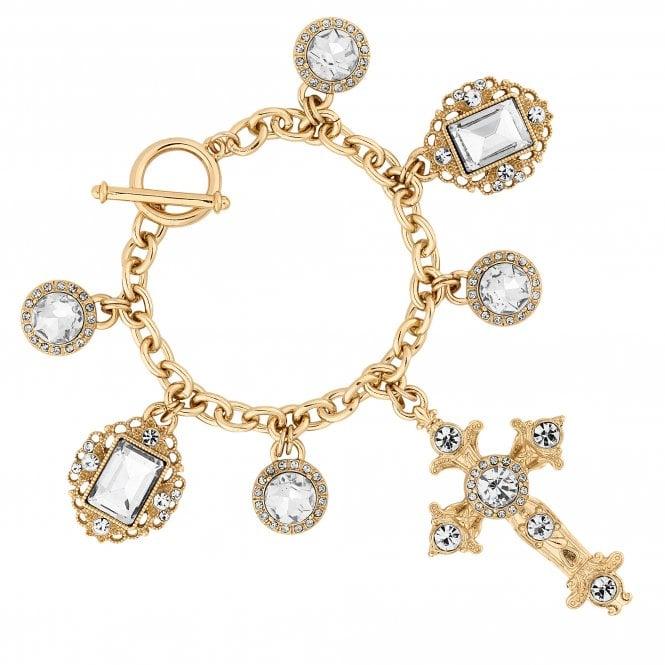Gold Crystal Oversized Cross Statement Bracelet