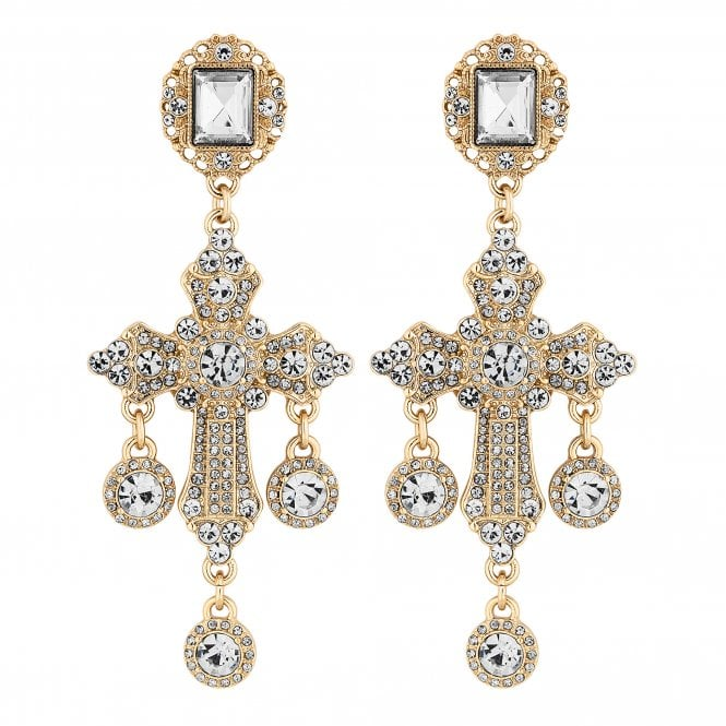 Gold Crystal Oversized Cross Statement Earring