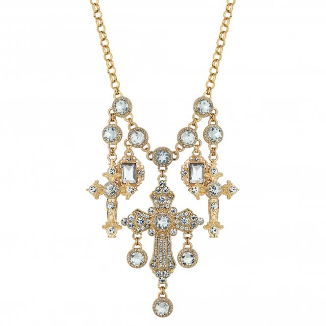 Gold Crystal Oversized Cross Statement Necklace
