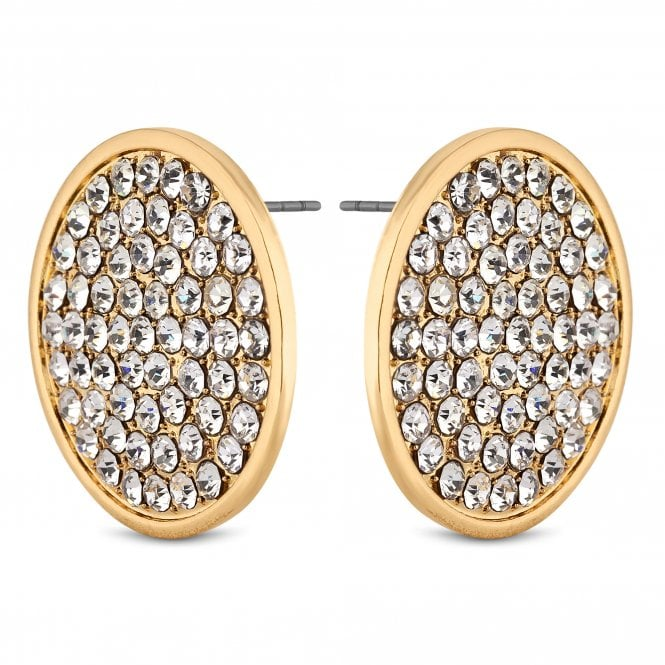 Gold Crystal Oversized Disc Earring