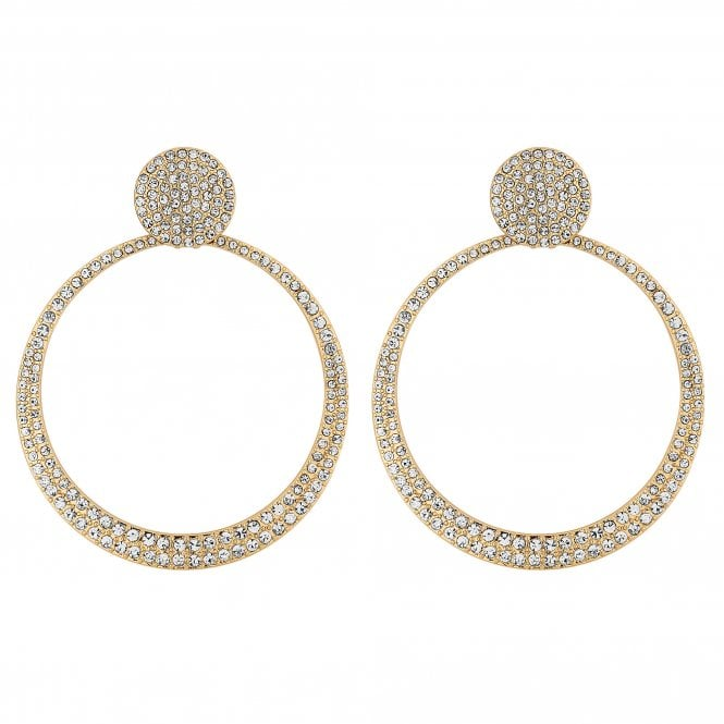 Gold Crystal Pave Hoop Drop Earring