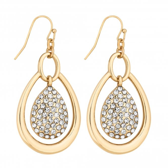Gold Crystal Peardrop Drop Earring