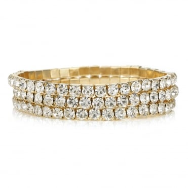 Gold diamante bracelet set