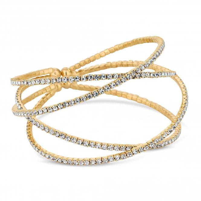 Gold Diamante Caged Cuff Bracelet
