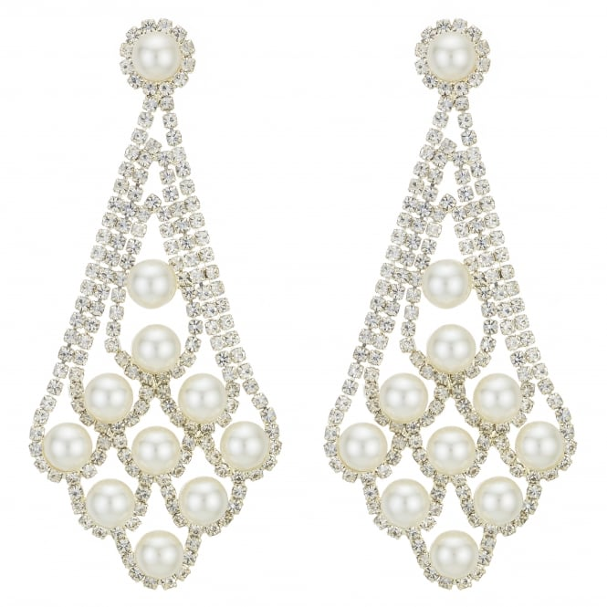 MOOD By Jon Richard Gold Diamante Crystal And Pearl Statement Earring
