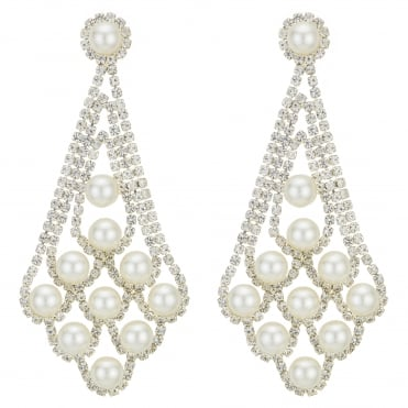 Gold Diamante Crystal And Pearl Statement Earring