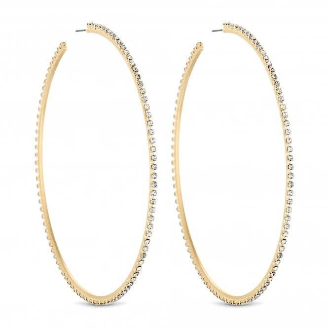 Gold Diamante Crystal Oversized Hoop Earring