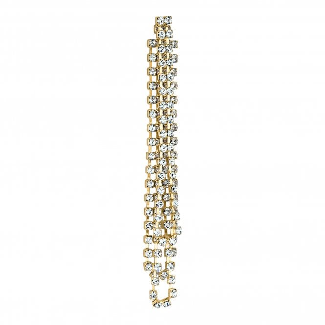 Gold Diamante Crystal Single Statement Earring
